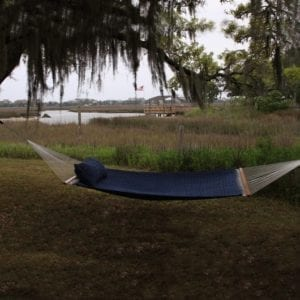 Blue Large Soft Weave Hammock Lifestyle
